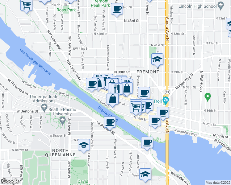 map of restaurants, bars, coffee shops, grocery stores, and more near Phinney Avenue North & North 36th Street in Seattle