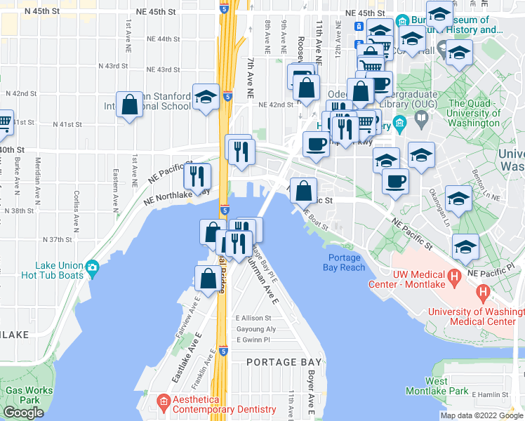 map of restaurants, bars, coffee shops, grocery stores, and more near 3320 Fuhrman Avenue East in Seattle