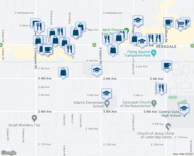 map of restaurants, bars, coffee shops, grocery stores, and more near 14601 East 4th Avenue in Spokane Valley