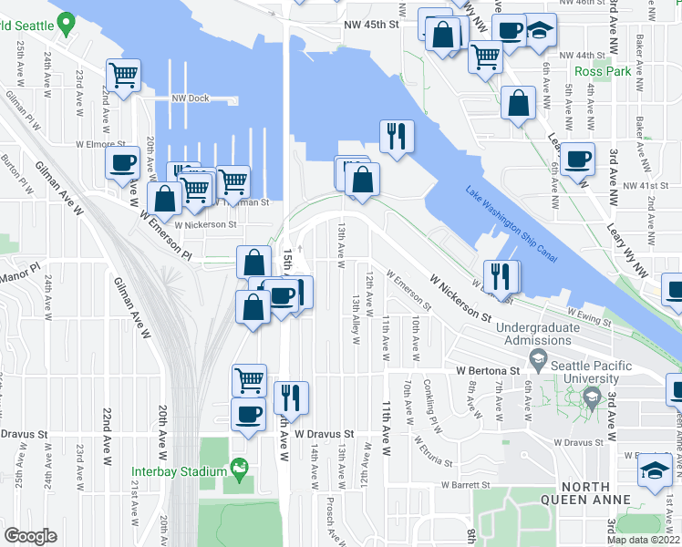 map of restaurants, bars, coffee shops, grocery stores, and more near 3650 13th Ave W in Seattle