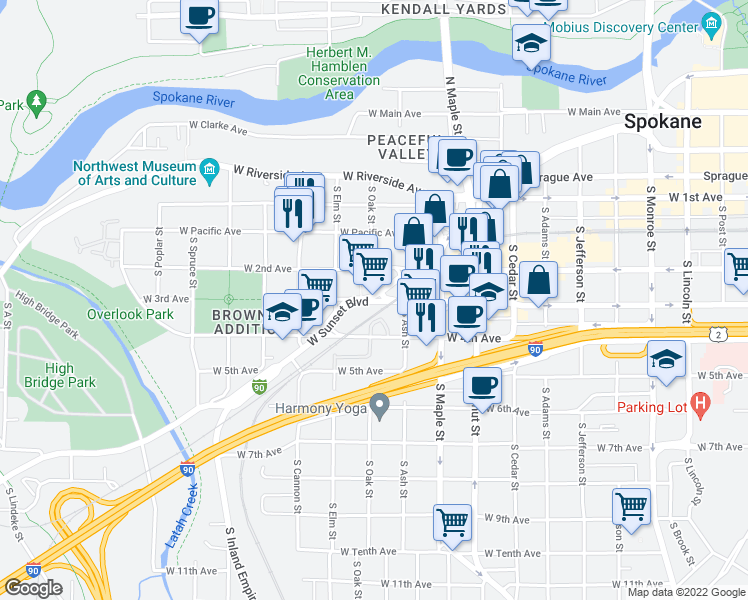 map of restaurants, bars, coffee shops, grocery stores, and more near 1808 West 3rd Avenue in Spokane