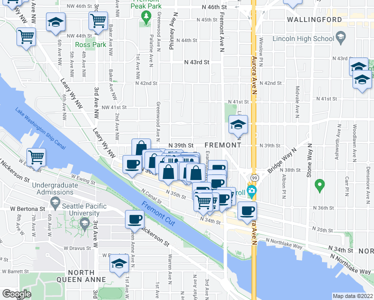 map of restaurants, bars, coffee shops, grocery stores, and more near 3666 Francis Ave N in Seattle