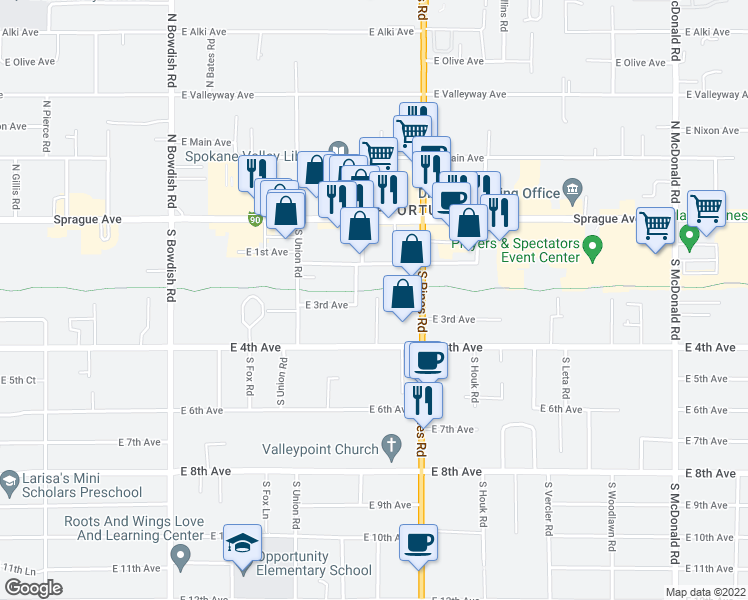 map of restaurants, bars, coffee shops, grocery stores, and more near 211 South Whipple Road in Spokane Valley