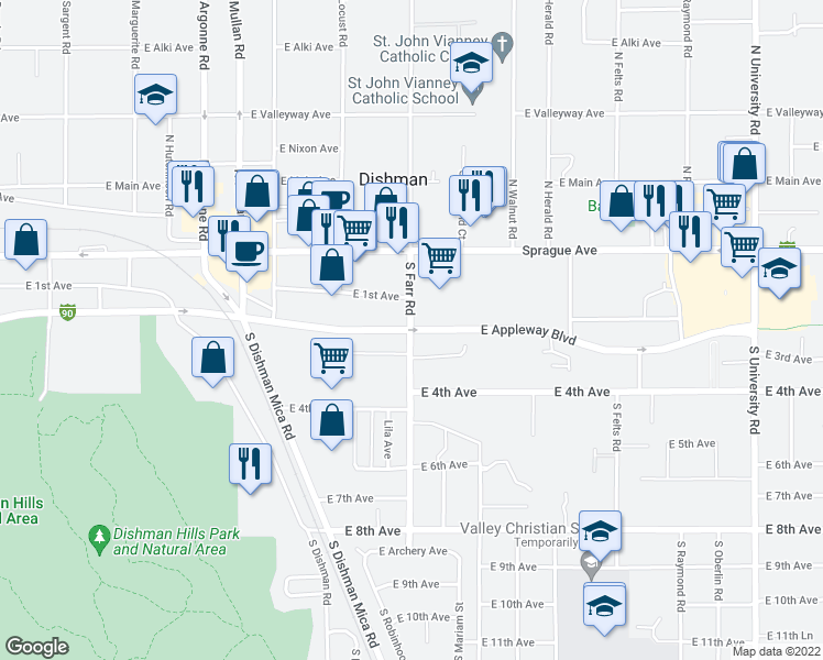 map of restaurants, bars, coffee shops, grocery stores, and more near Appleway Blvd & S Farr Rd in Spokane