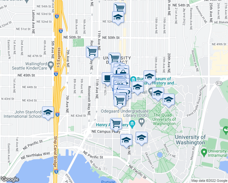 map of restaurants, bars, coffee shops, grocery stores, and more near 4235 Brooklyn Ave NE in Seattle
