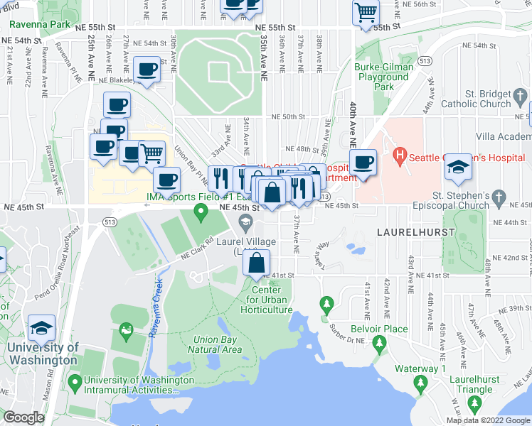 map of restaurants, bars, coffee shops, grocery stores, and more near 3503 Northeast 45th Street in Seattle
