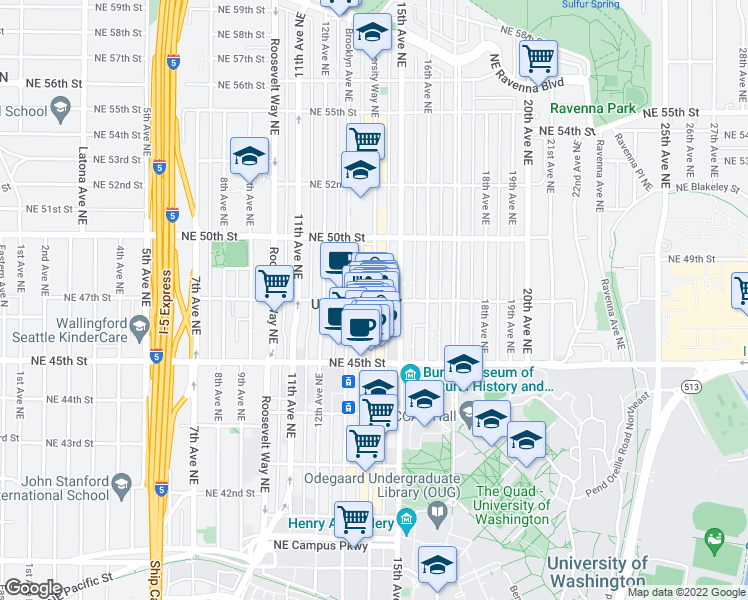 map of restaurants, bars, coffee shops, grocery stores, and more near NE 47th St & University Way NE & The Ave in Seattle