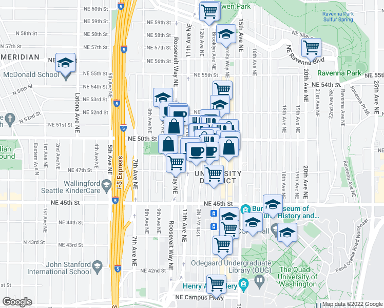 map of restaurants, bars, coffee shops, grocery stores, and more near 4724 11th Avenue Northeast in Seattle