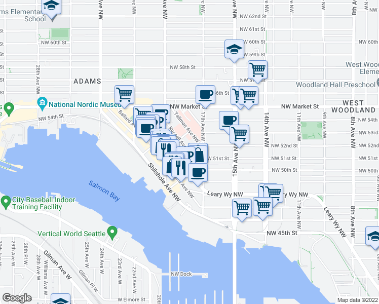 map of restaurants, bars, coffee shops, grocery stores, and more near Russell Avenue Northwest & Northwest Ione Place in Seattle