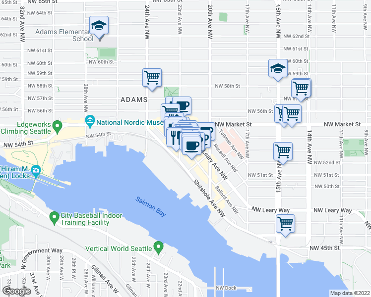map of restaurants, bars, coffee shops, grocery stores, and more near 5339 Ballard Avenue Northwest in Seattle