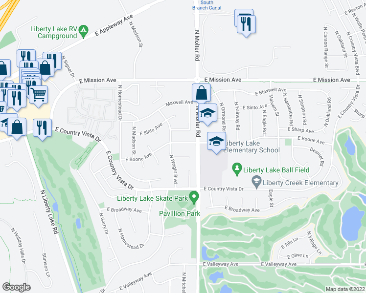 map of restaurants, bars, coffee shops, grocery stores, and more near 23303 East Desmet Court in Liberty Lake