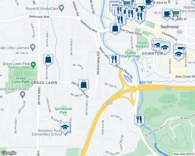 map of restaurants, bars, coffee shops, grocery stores, and more near 7012 155th Place Northeast in Redmond