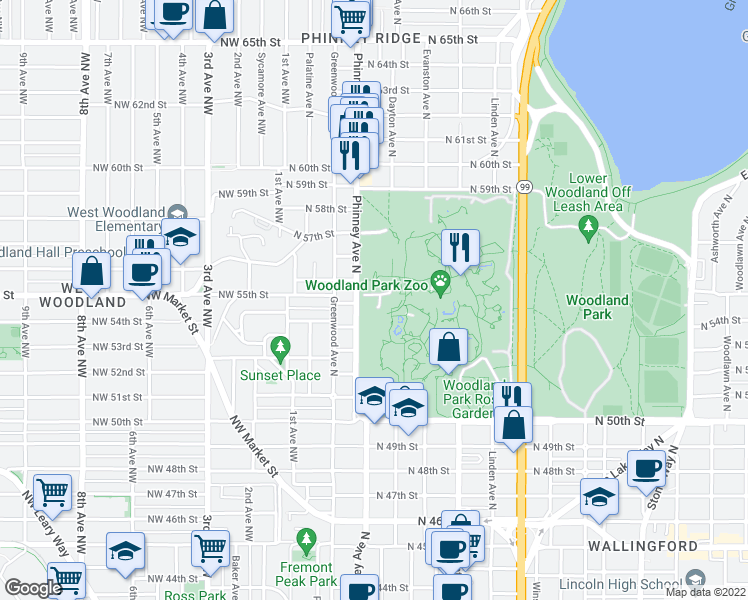 map of restaurants, bars, coffee shops, grocery stores, and more near 5500 Phinney Avenue North in Seattle