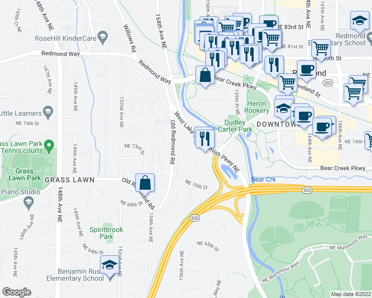 map of restaurants, bars, coffee shops, grocery stores, and more near 7351-7399 West Lake Sammamish Parkway Northeast in Redmond