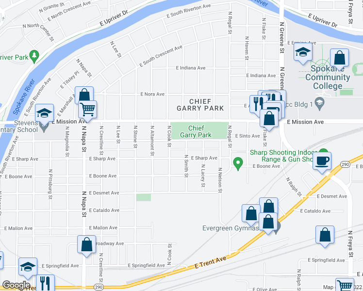 map of restaurants, bars, coffee shops, grocery stores, and more near 1300-1398 North Smith Street in Spokane