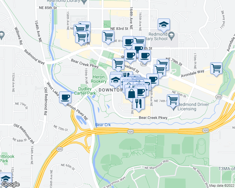 map of restaurants, bars, coffee shops, grocery stores, and more near Bear Creek Pkwy in Redmond