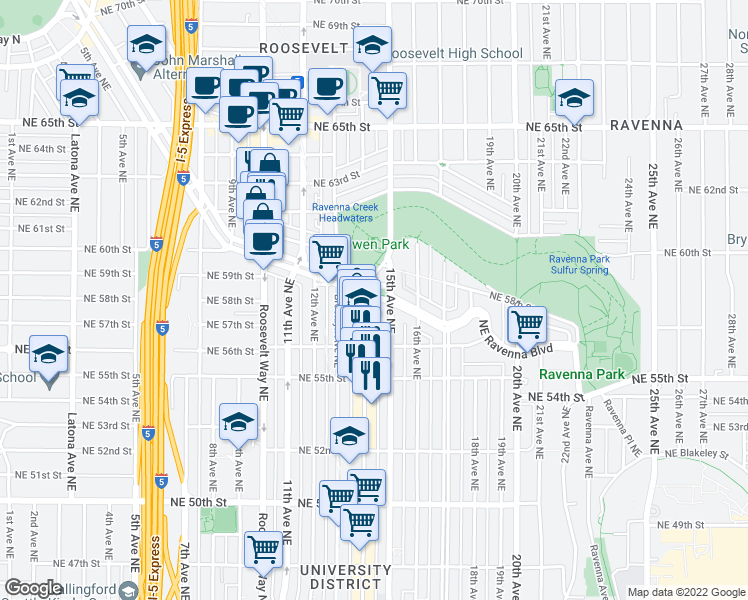 map of restaurants, bars, coffee shops, grocery stores, and more near 1415 NE Ravenna Blvd in Seattle