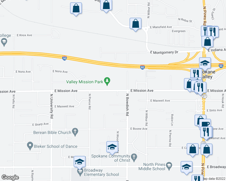 map of restaurants, bars, coffee shops, grocery stores, and more near 1511 North Woodward Road in Spokane Valley