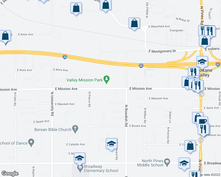 map of restaurants, bars, coffee shops, grocery stores, and more near 11310 E Mission Ave in Spokane