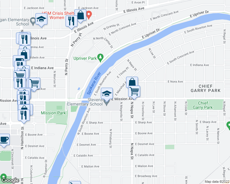map of restaurants, bars, coffee shops, grocery stores, and more near 1624 East South Riverton Avenue in Spokane
