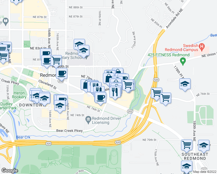map of restaurants, bars, coffee shops, grocery stores, and more near 17000-17048 Northeast 79th Street in Redmond