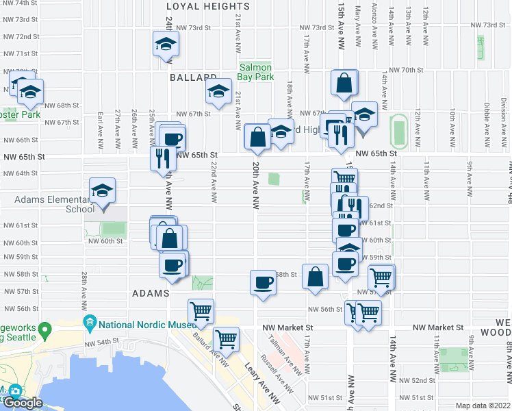 map of restaurants, bars, coffee shops, grocery stores, and more near 20th Ave NW & NW 62nd St in Seattle