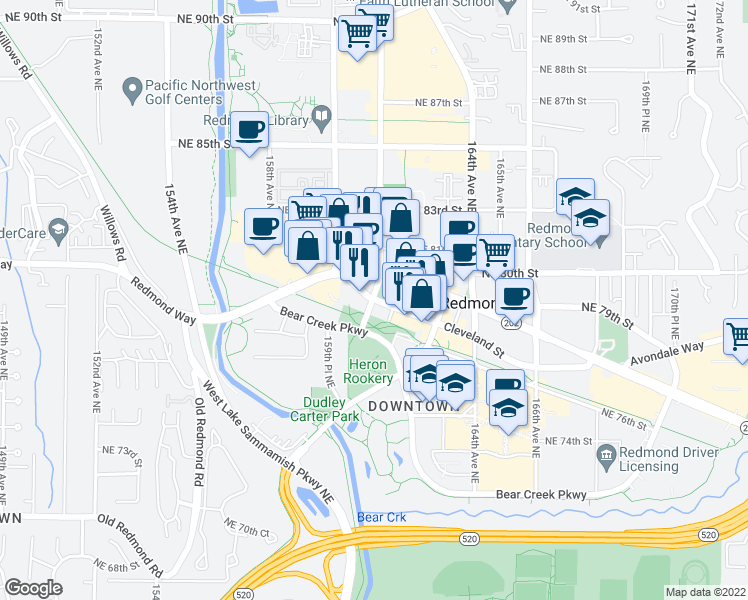 map of restaurants, bars, coffee shops, grocery stores, and more near 161st Ave NE in Redmond