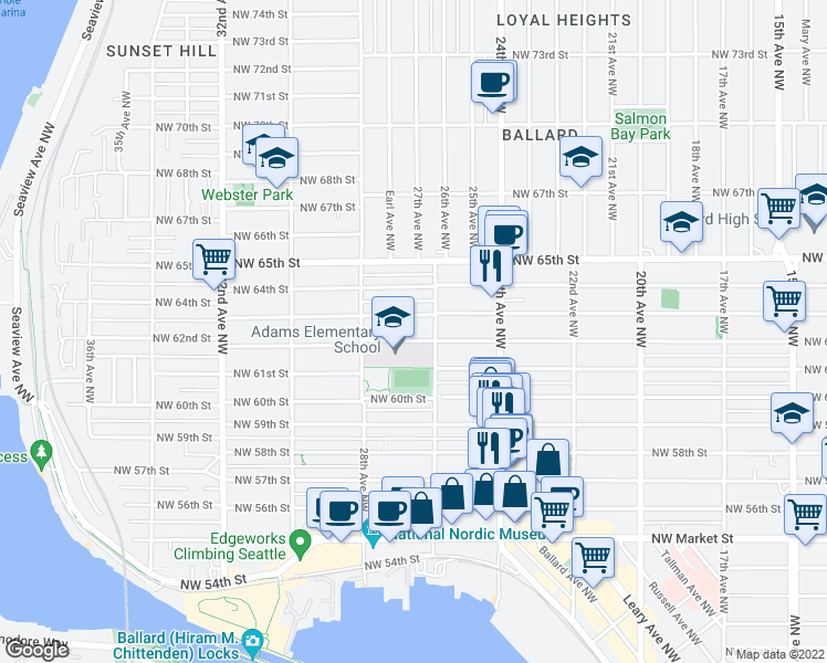 map of restaurants, bars, coffee shops, grocery stores, and more near 2616 Northwest 62nd Street in Seattle