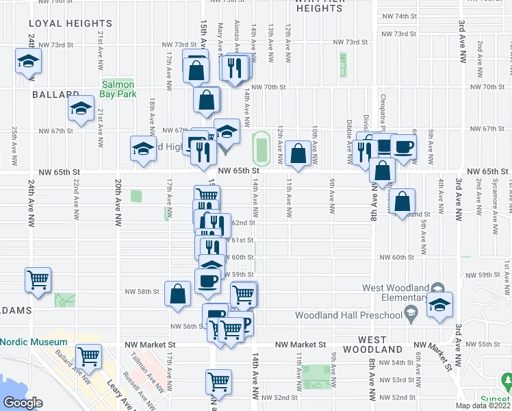 map of restaurants, bars, coffee shops, grocery stores, and more near 14th Ave NW & NW 63rd St in Seattle