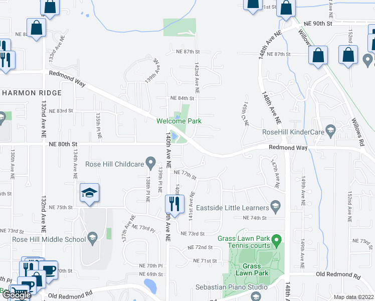 map of restaurants, bars, coffee shops, grocery stores, and more near 14116 Northeast 78th Court in Redmond