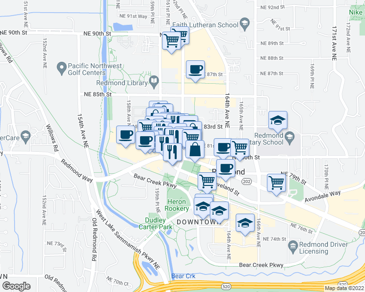 map of restaurants, bars, coffee shops, grocery stores, and more near 8046-8298 161st Ave NE in Redmond
