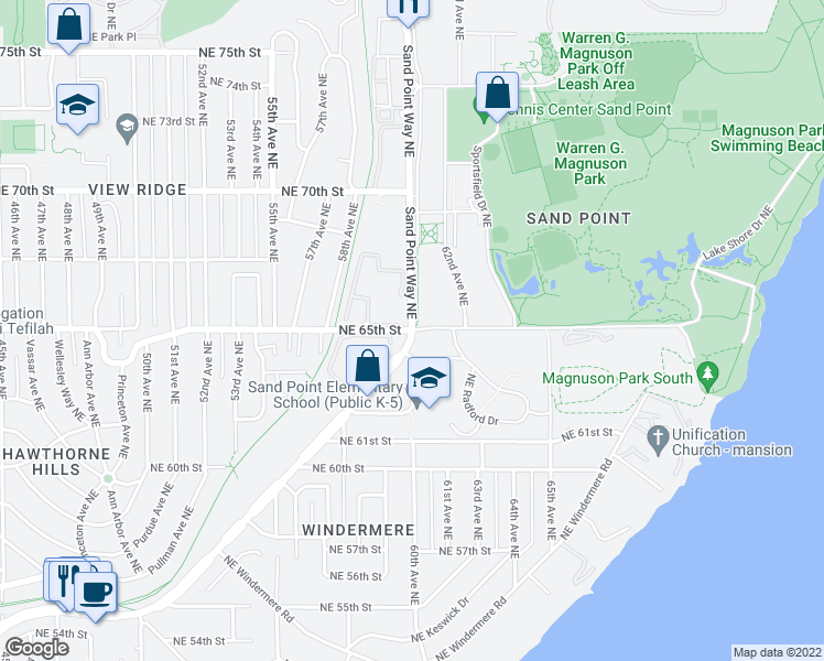 map of restaurants, bars, coffee shops, grocery stores, and more near Sand Point Way Northeast & Northeast 65th Street in Seattle