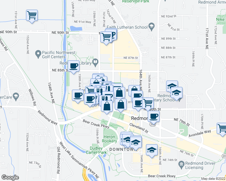 map of restaurants, bars, coffee shops, grocery stores, and more near Northeast 83rd Street & 161st Avenue Northeast in Redmond