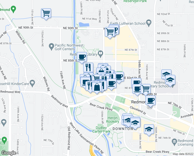 map of restaurants, bars, coffee shops, grocery stores, and more near in Redmond