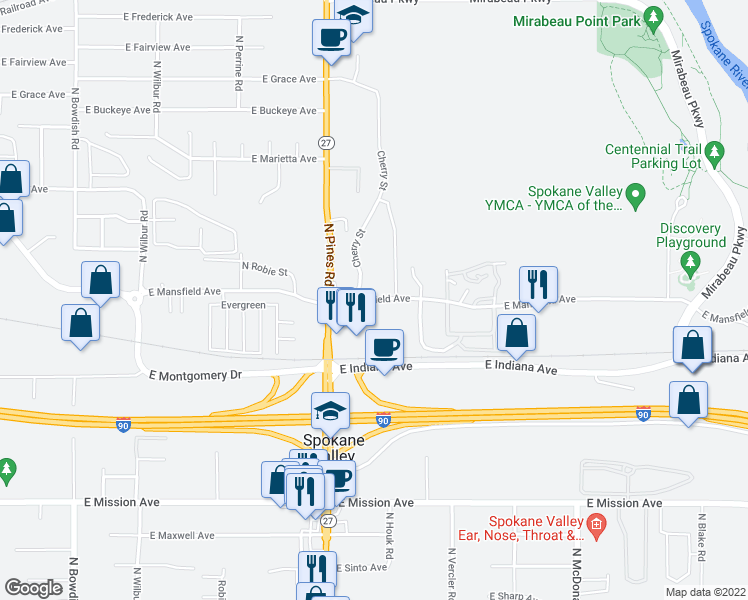 map of restaurants, bars, coffee shops, grocery stores, and more near 12423 E Mansfield Ave in Spokane