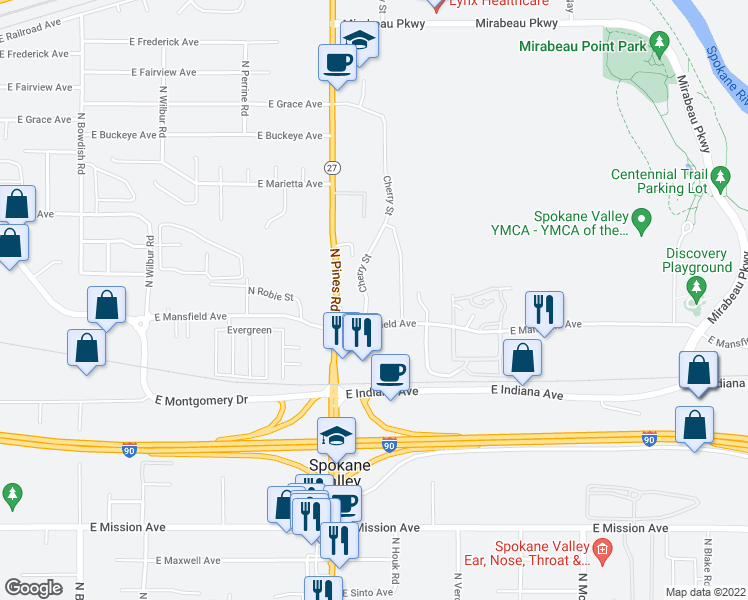 map of restaurants, bars, coffee shops, grocery stores, and more near 12411 E Mansfield Ave in Spokane