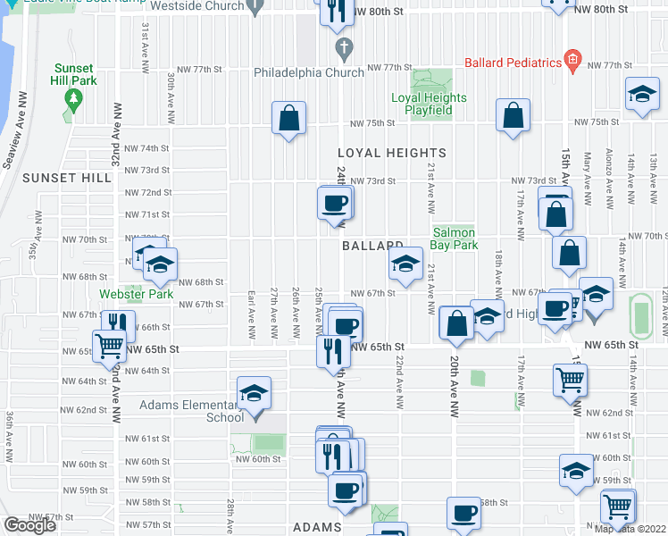 map of restaurants, bars, coffee shops, grocery stores, and more near 6747 24th Avenue Northwest in Seattle