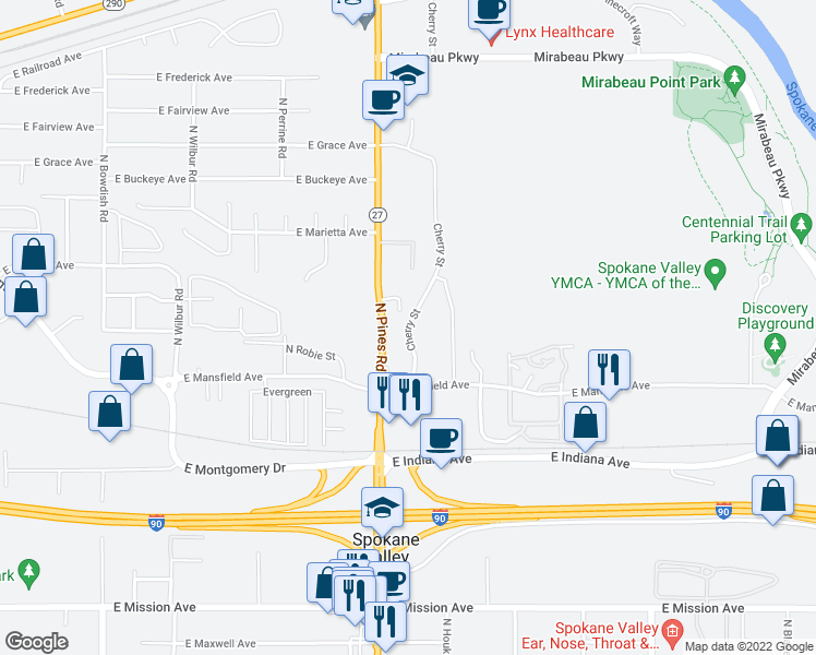 map of restaurants, bars, coffee shops, grocery stores, and more near 2405 North Cherry Street in Spokane Valley