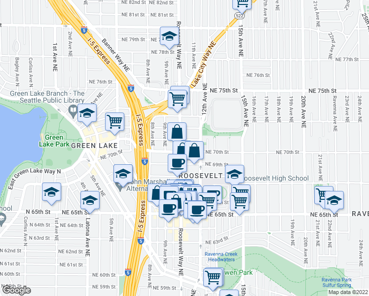 map of restaurants, bars, coffee shops, grocery stores, and more near 7000 Roosevelt Way Northeast in Seattle