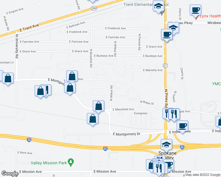 map of restaurants, bars, coffee shops, grocery stores, and more near 2500-2598 North Wilbur Road in Spokane Valley