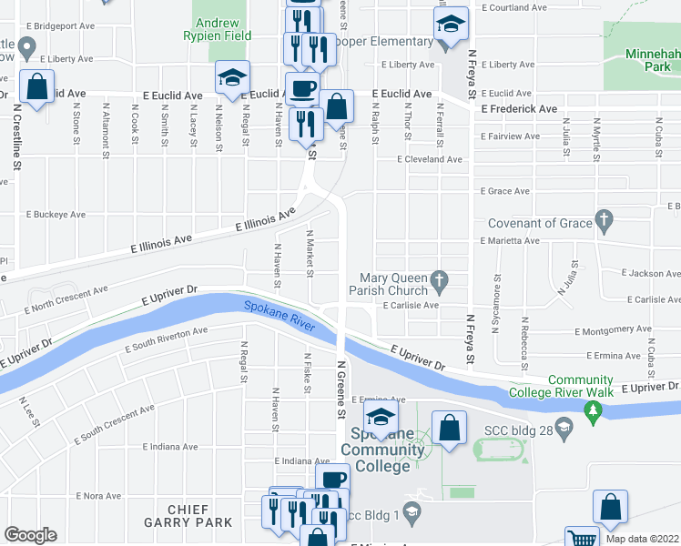 map of restaurants, bars, coffee shops, grocery stores, and more near N Greene St & E Jackson Ave in Spokane