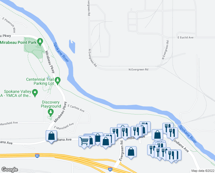 map of restaurants, bars, coffee shops, grocery stores, and more near Spokane River Centennial Trail in Spokane Valley