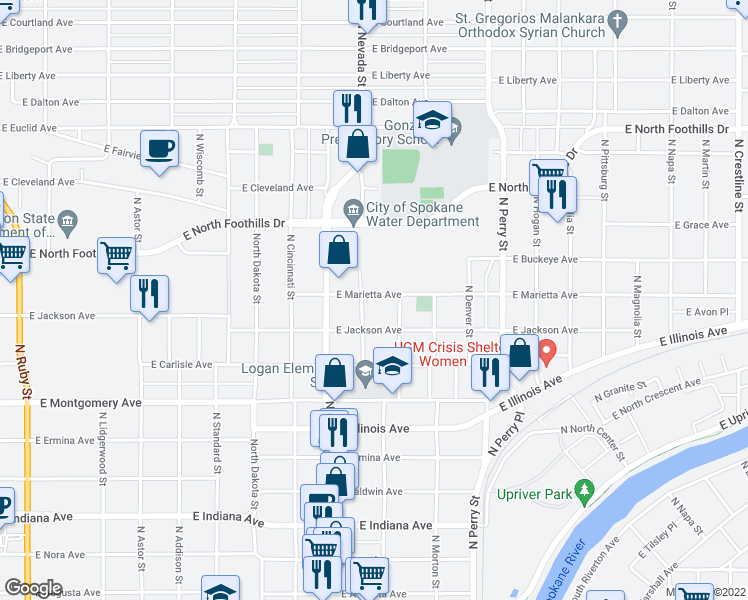 map of restaurants, bars, coffee shops, grocery stores, and more near 1003 East Jackson Avenue in Spokane