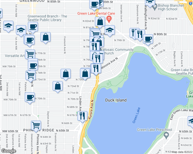 map of restaurants, bars, coffee shops, grocery stores, and more near 7311 Aurora Ave N in Seattle