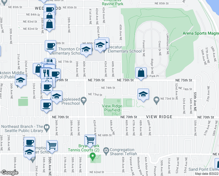 map of restaurants, bars, coffee shops, grocery stores, and more near 4251 NE 74th St in Seattle