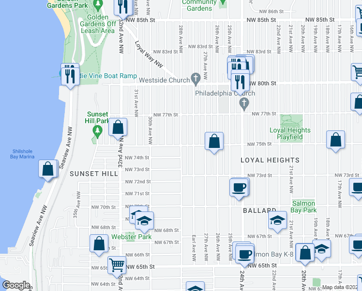 map of restaurants, bars, coffee shops, grocery stores, and more near 28th Avenue Northwest & Northwest 75th Street in Seattle
