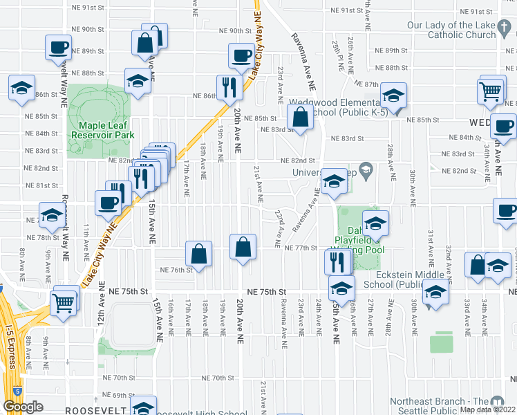 map of restaurants, bars, coffee shops, grocery stores, and more near NE 80th St & 21st Ave NE in Seattle