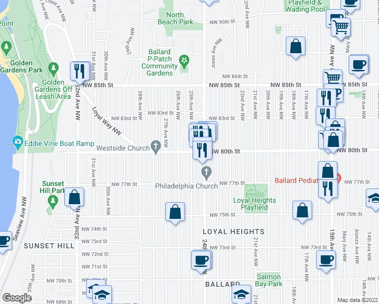 map of restaurants, bars, coffee shops, grocery stores, and more near 7700-7998 26th Avenue Northwest in Seattle