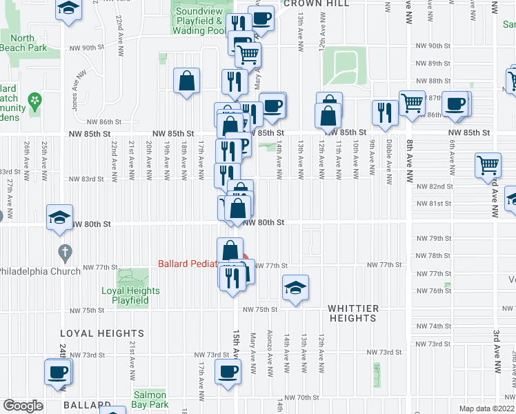 map of restaurants, bars, coffee shops, grocery stores, and more near 8020 Mary Ave NW in Seattle