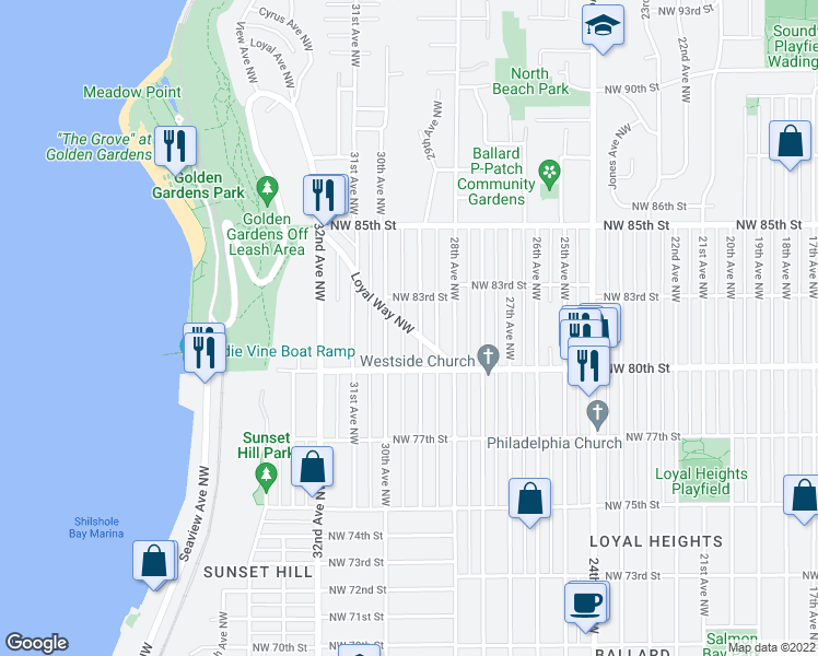 map of restaurants, bars, coffee shops, grocery stores, and more near 8052 Loyal Way NW in Seattle